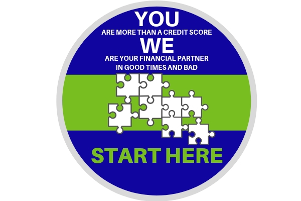 You are more than a credit score.  We are your financial partners in good times and bad.  Image of puzzle pieces followed by the words start here.
