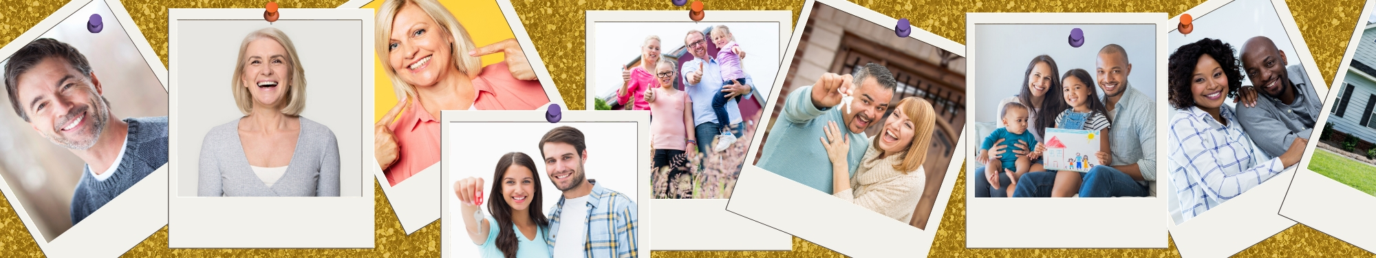 Photographs of random people on a bulletin board representing happy home purchasers.