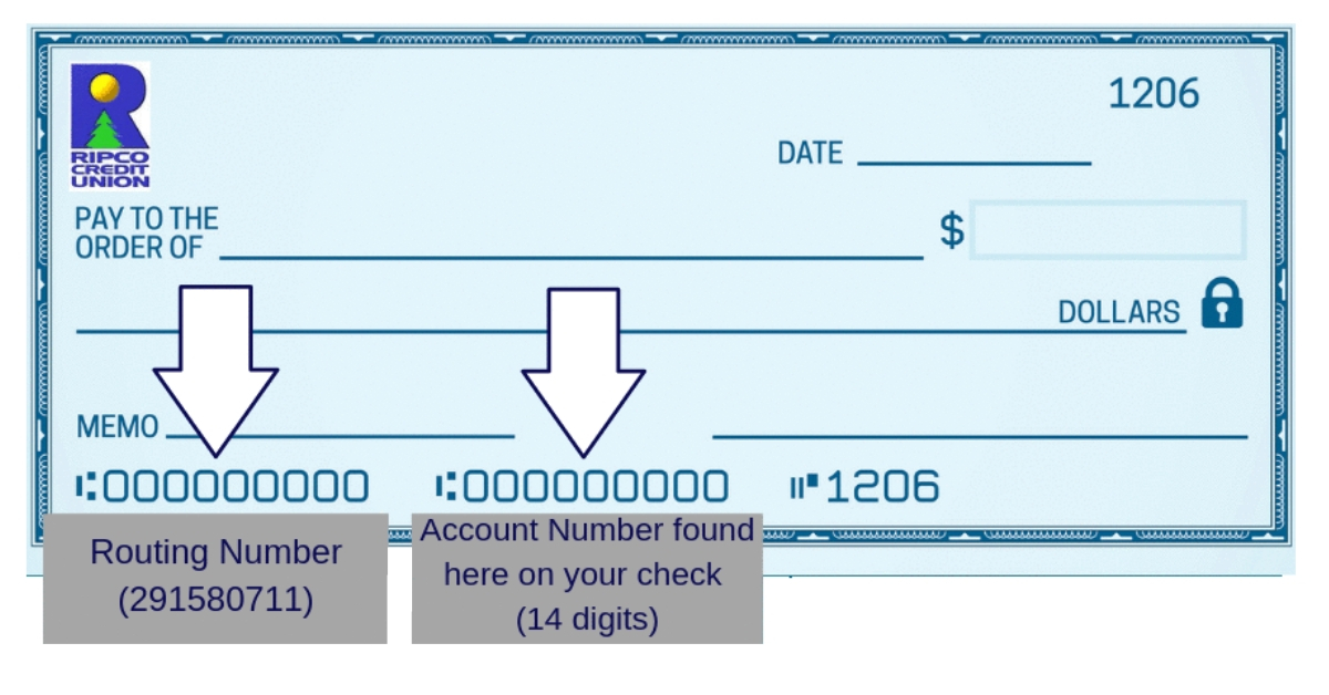 Check with routing number and account number example