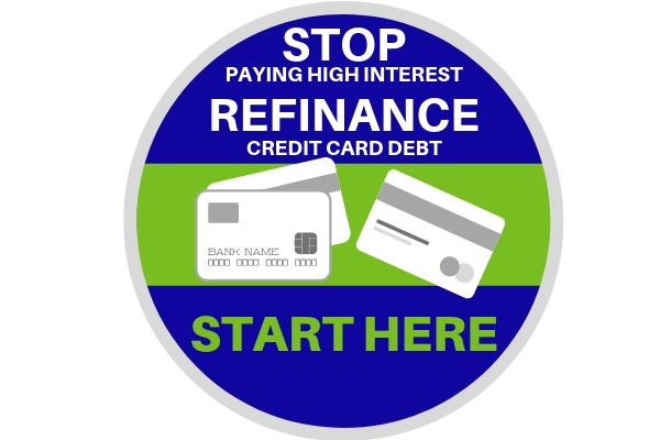 Stop paying high interest.  Refinance credit card debt.  START HERE.  Includes image of three credit cards displaying the words bank name and 16 zeros.